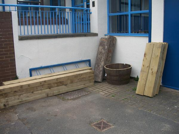 Here are our sleepers ready to make raised beds
