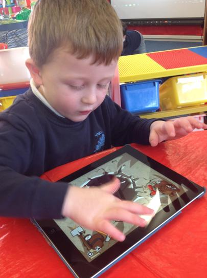 "using our ""busy finger"" on the i-pad..."