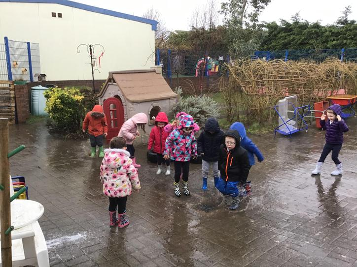 Splashing in the rain!