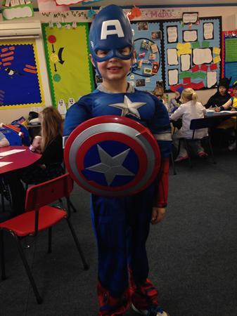 Evan is dressed as Captain America!