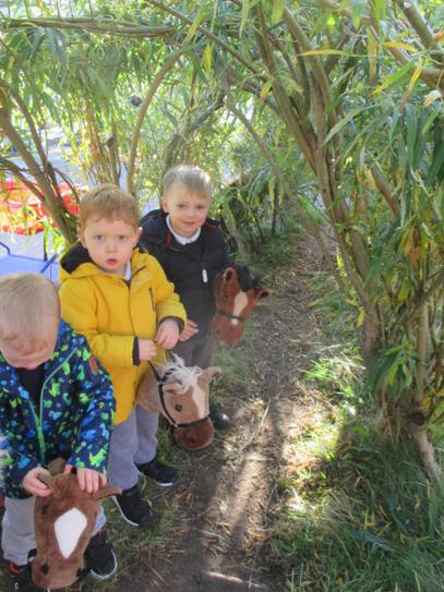 Going for a horse ride in the willow tunnel.