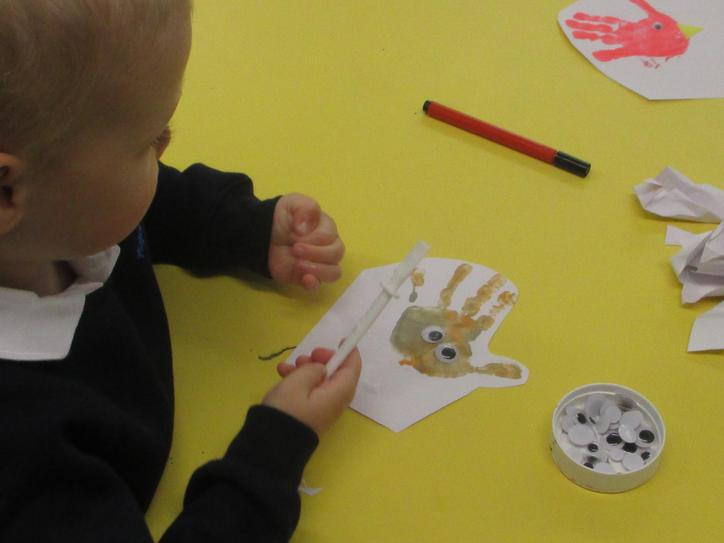 Finishing off our 'welcome' birds.