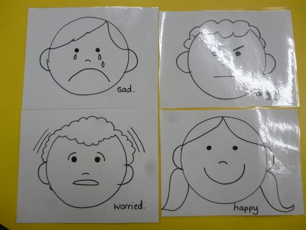 Talking about our feelings during circle time.