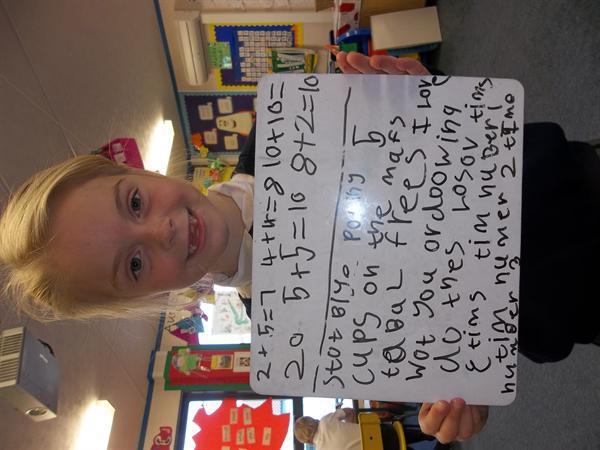 Larni practising her Maths Makes Sense language!