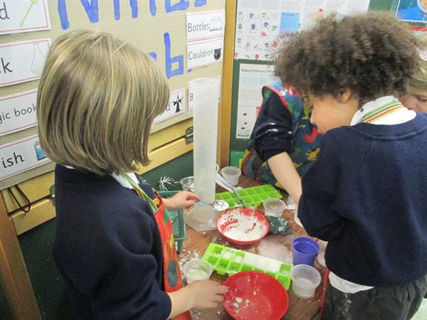 Mixing and making potions.