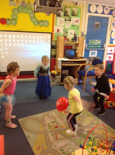 throwing and catching the sport relief balloon