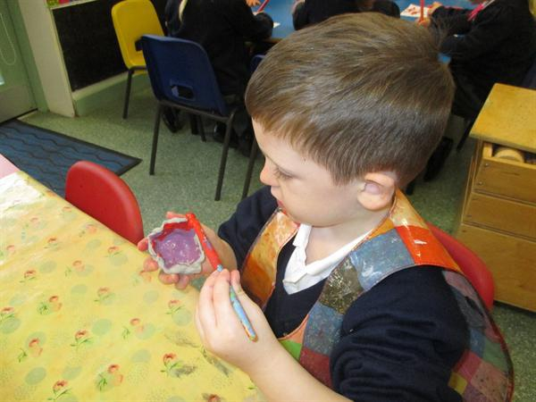 Decorating our tea light holders