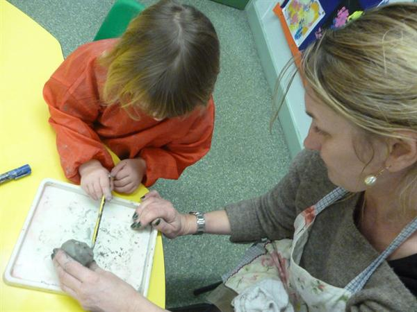 Nocturnal animals - making owls from clay.