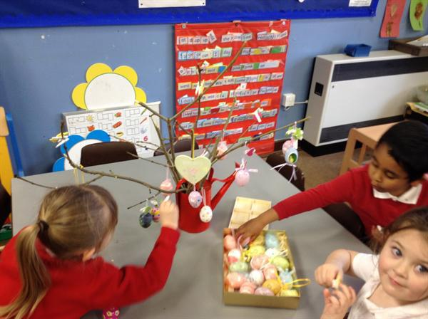 Decorating our Easter Tree.