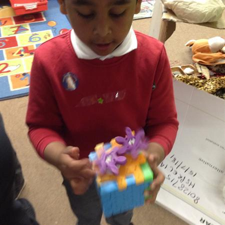Making models with 3D shapes.