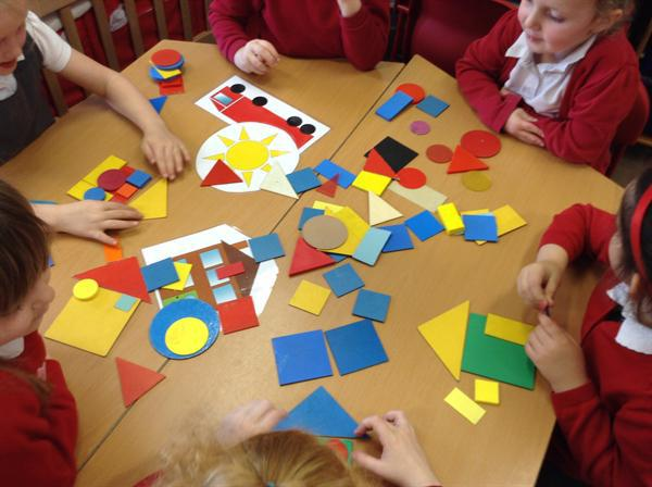 Gathering ideas for our shape pictures.
