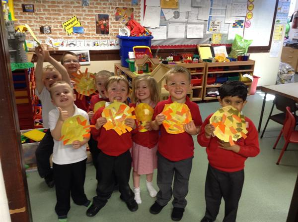 Nursery with their fabulous sunshine collages.