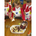 Making Gruffalo crumble!