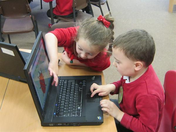 Paired maths activities on the laptops