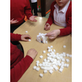 Building igloos using sugar cubes!