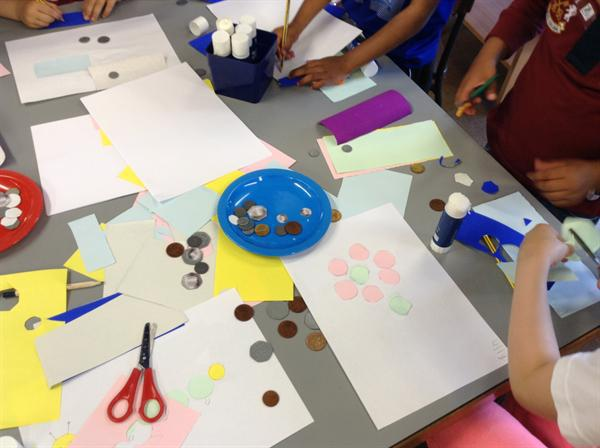 Money week- Using coins to create pictures.