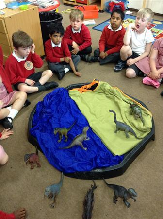 Subtraction work with the dinosaurs.