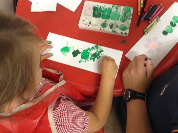 Nursery- printing with coins.