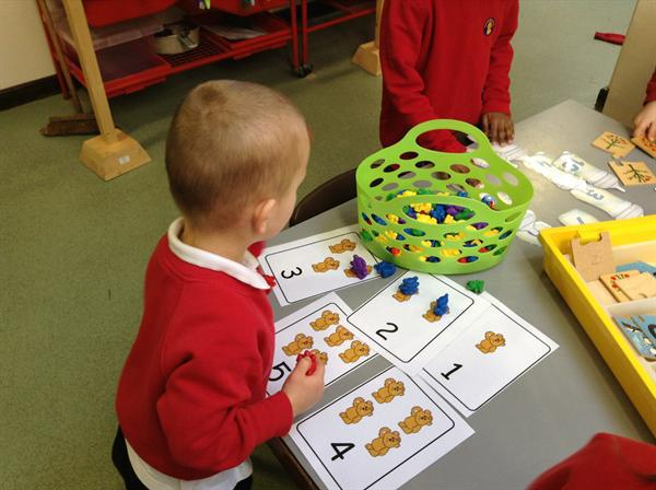 Counting the bears carefully.