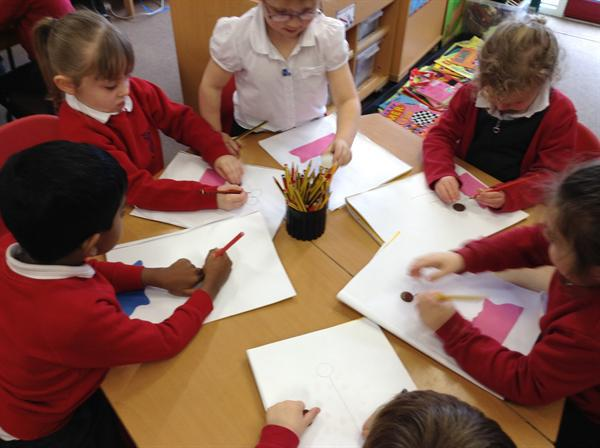 Creative Arts- making coin flowers.