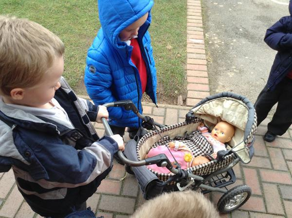 Taking our babies for a walk.