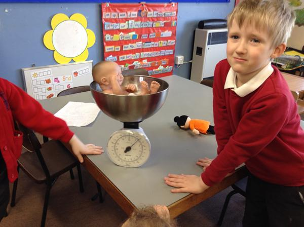 Weighing the baby using our home-made scales!