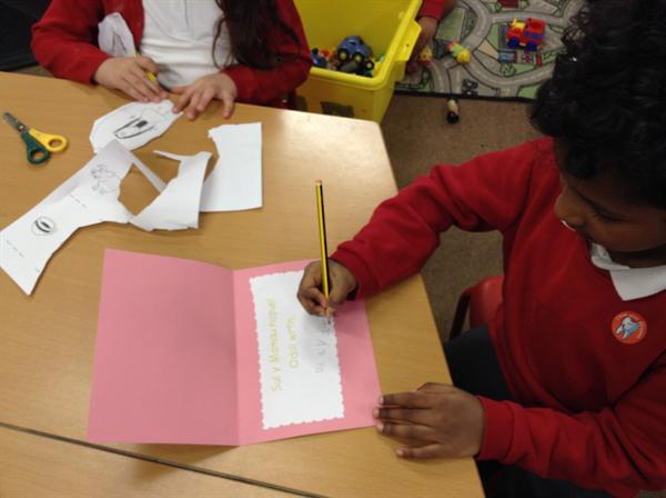 Writing in Welsh inside our cards.