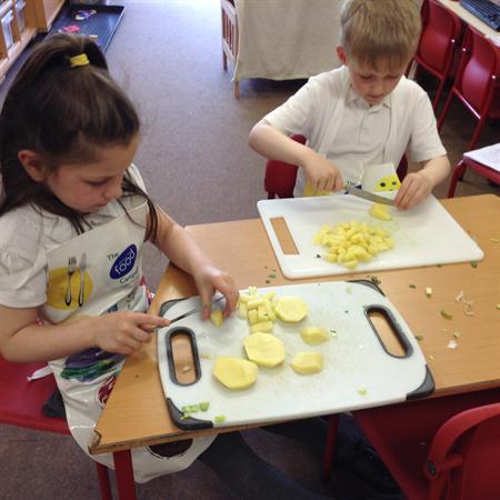 Chopping the potatoes