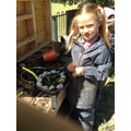 Following recipes in the mud kitchen