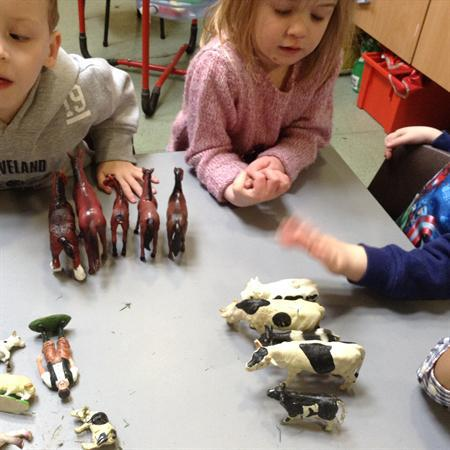 Nursery-sorting the farm animals.