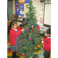 Decorating the class Christmas tree!