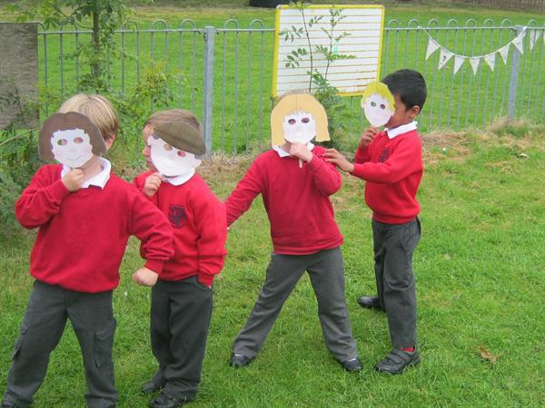 Acting out 'The Enormous Turnip.'