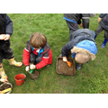 Practising fractions in the mud kitchen
