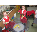 Practising addition in the water tray