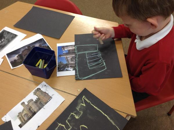 Chalk drawings of Bodelwyddan castle.