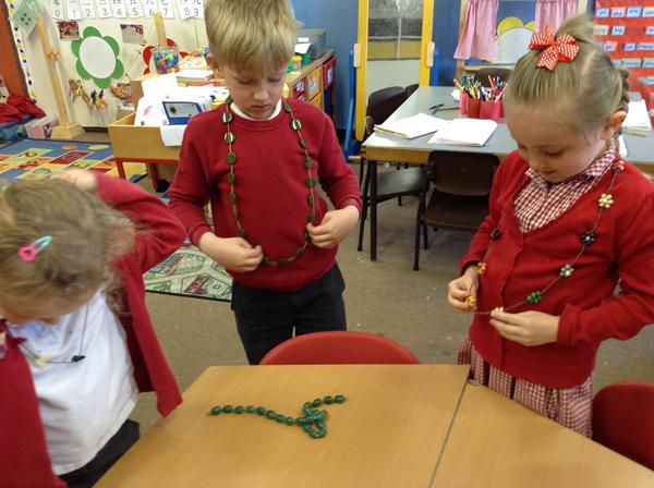 We looked at how different necklaces were made.