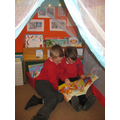 Enjoying the new reading tent!