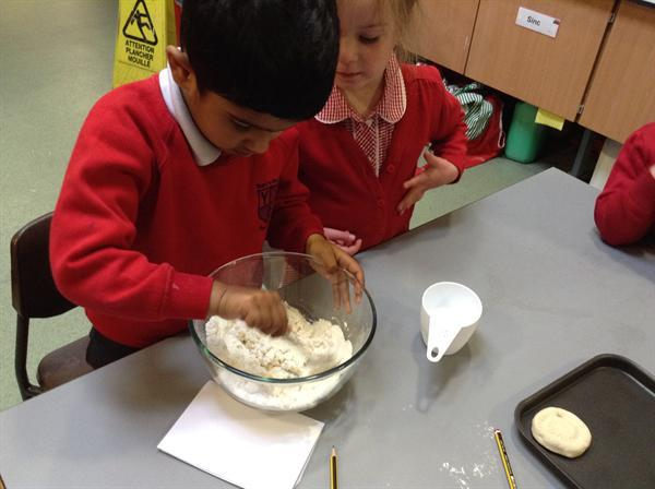 Making the salt dough.