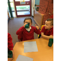Reception creating their own smoothies. YUMMY!