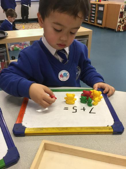 We placed objects to match the numbers