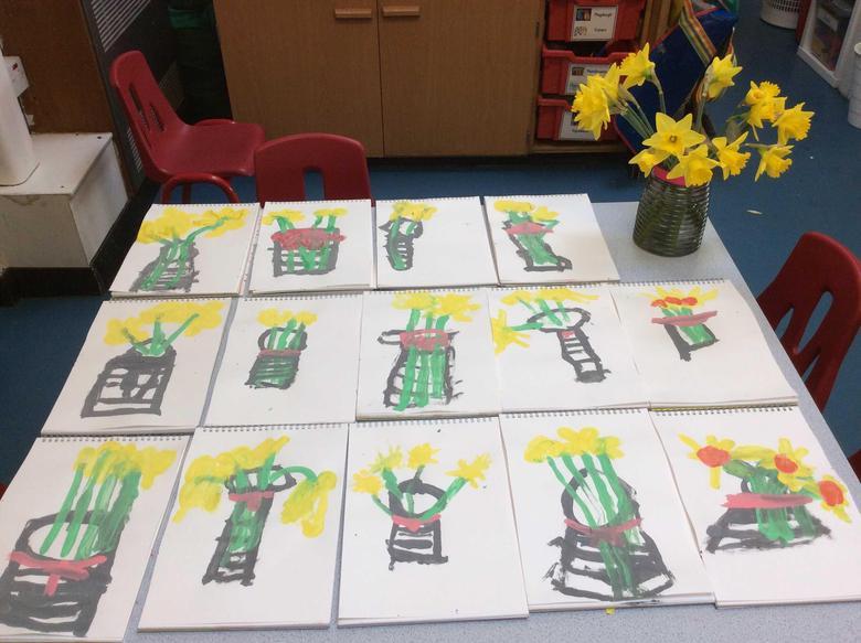 Still life painting-Daffodils