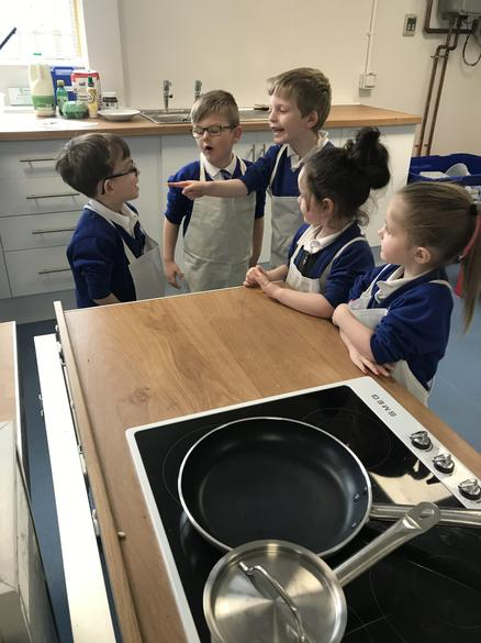 Making pancakes in our new kitchen