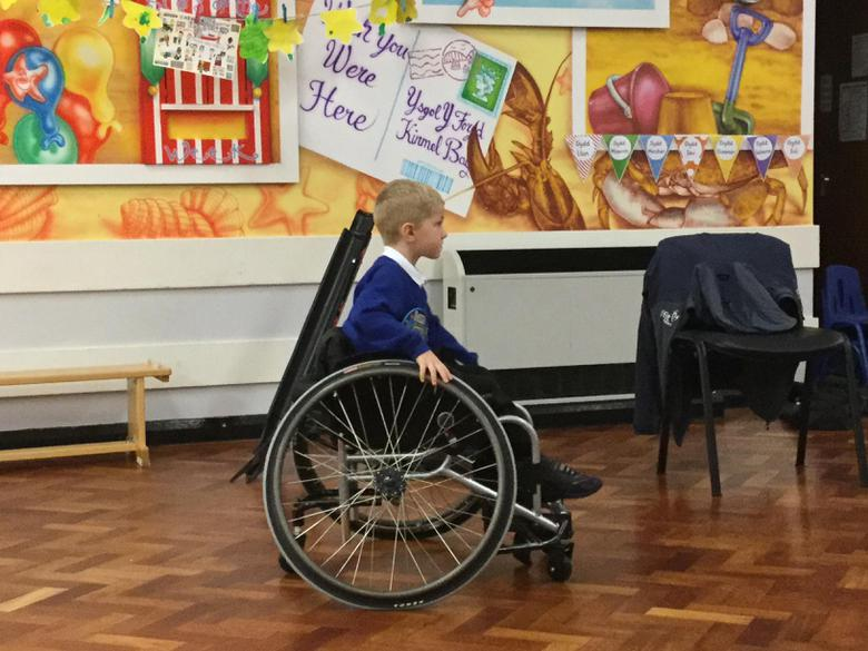 We had a go at moving around in the wheelchair.