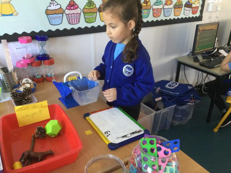 Each item was then weighed using 'grams'