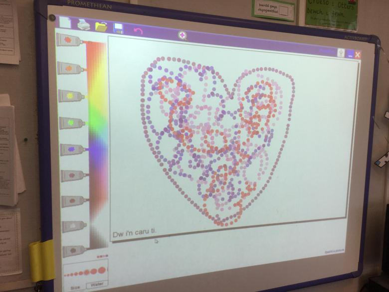 We drew hearts on the computers