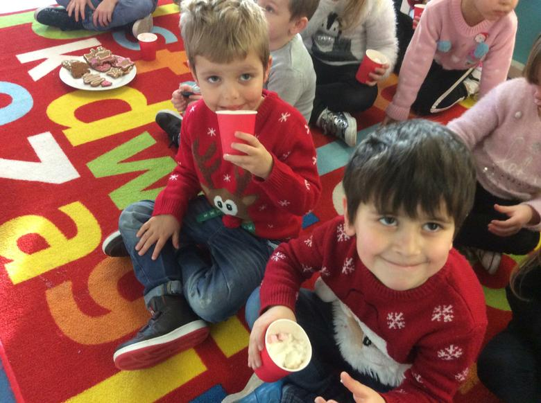 We enjoyed a hot chocolate with marshmallows...