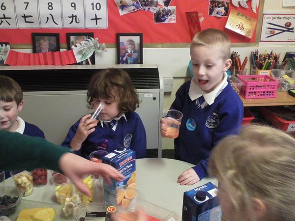 We made our own smoothies using the smoothie bike.