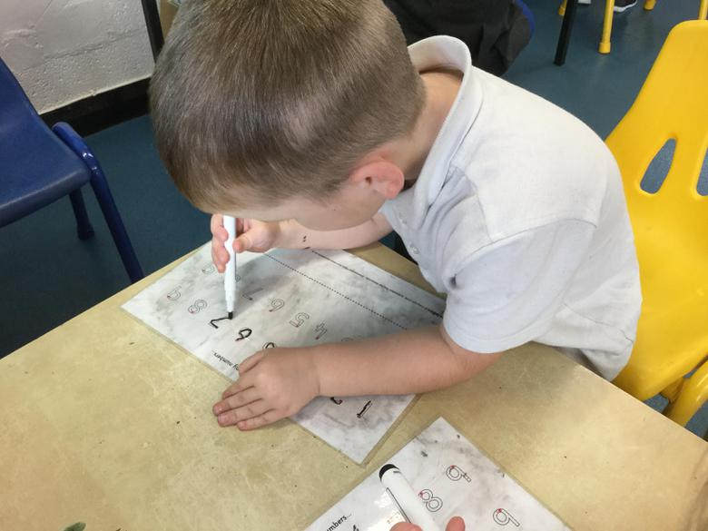 We practised the writing of the numbers 0-9.