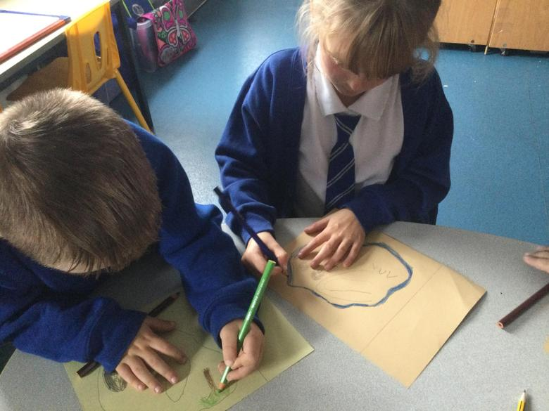 We carefully drew the map outline