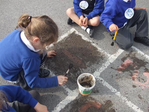 Making mud!